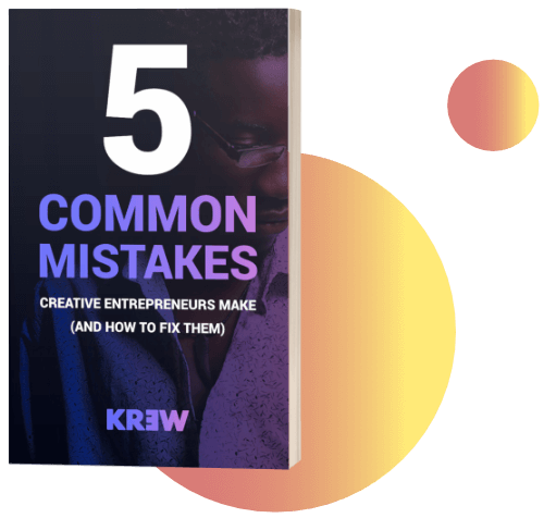 KREW's 5 Common Mistakes of Creative Entrepreneurs (And How To Fix Them) by Marc Rodan PNG Orange Bubbles